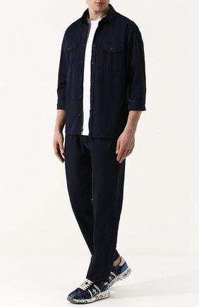Комбинированные кроссовки Mattew с камуфляжным принтом Premiata синие | Фото №1