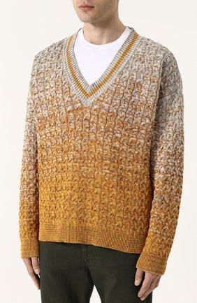 Хлопковый пуловер крупной вязки Missoni разноцветный | Фото №3