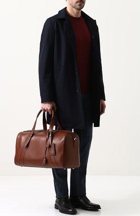 Мужская кожаная дорожная сумка с плечевым ремнем BRIONI коричневого цвета, арт. 0ISY0L/P6751 | Фото 2