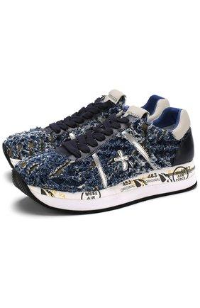 Текстильные кроссовки Conny с фактурной отделкой Premiata синие | Фото №1
