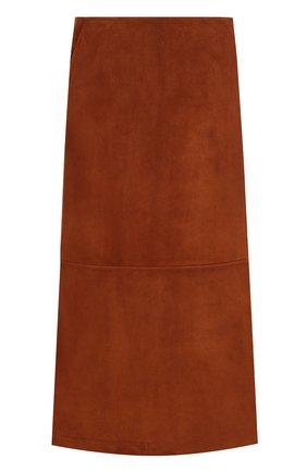 Однотонная замшевая юбка-миди | Фото №1