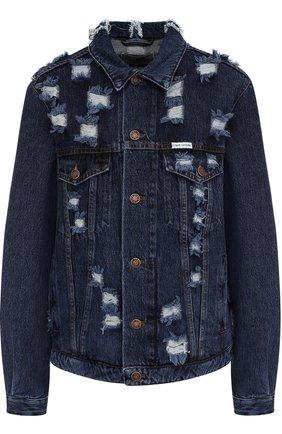 Джинсовая куртка свободного кроя с декорированной спинкой   Фото №1