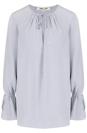 Шелковая блуза свободного кроя с круглым вырезом | Фото №1