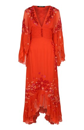Приталенное шелковое платье асимметричного кроя | Фото №1