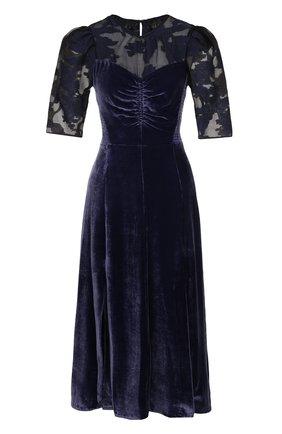 Приталенное бархатное платье-миди с коротким рукавом | Фото №1