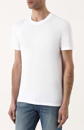 Мужская однотонная футболка с круглым вырезом TOM FORD белого цвета, арт. BP229/TFJ911 | Фото 3
