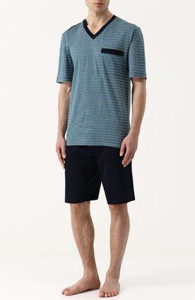 Хлопковая пижама с шортами и футболкой в полоску | Фото №1