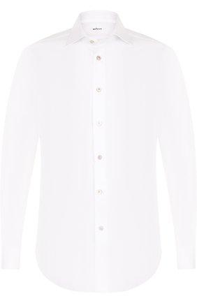 Мужская хлопковая сорочка с воротником кент KITON белого цвета, арт. UCIH0003401000 | Фото 1