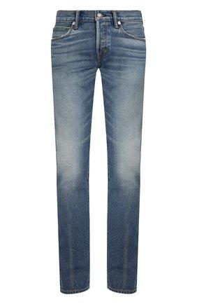 Мужские джинсы прямого кроя с потертостями TOM FORD синего цвета, арт. BPJ11/TFD001 | Фото 1