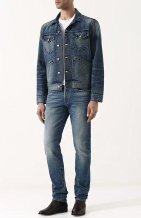 Мужские джинсы прямого кроя с потертостями TOM FORD синего цвета, арт. BPJ11/TFD001 | Фото 2