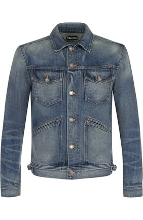 Мужская джинсовая куртка с потертостями TOM FORD синего цвета, арт. BPJ11/TFD110   Фото 1