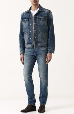 Мужская джинсовая куртка с потертостями TOM FORD синего цвета, арт. BPJ11/TFD110   Фото 2