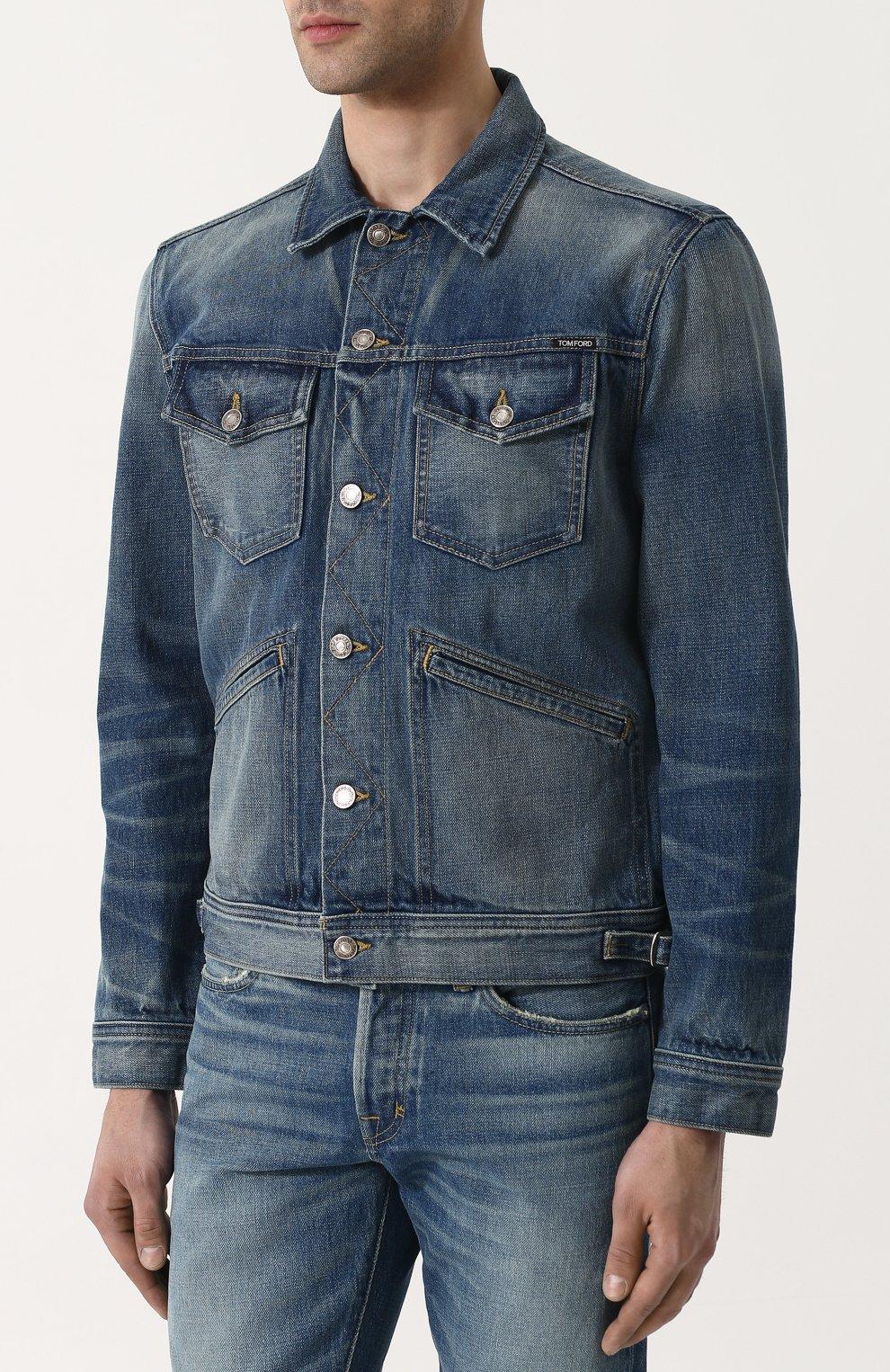 Мужская джинсовая куртка с потертостями TOM FORD синего цвета, арт. BPJ11/TFD110   Фото 3