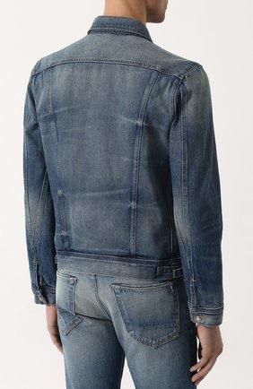 Мужская джинсовая куртка с потертостями TOM FORD синего цвета, арт. BPJ11/TFD110   Фото 4