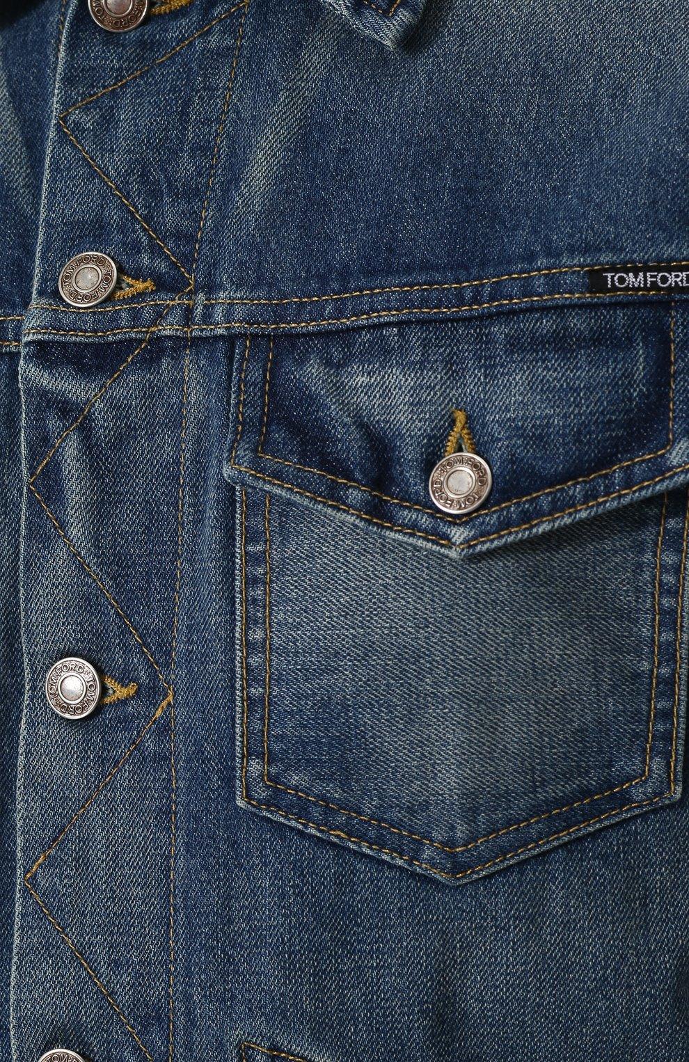 Мужская джинсовая куртка с потертостями TOM FORD синего цвета, арт. BPJ11/TFD110   Фото 5