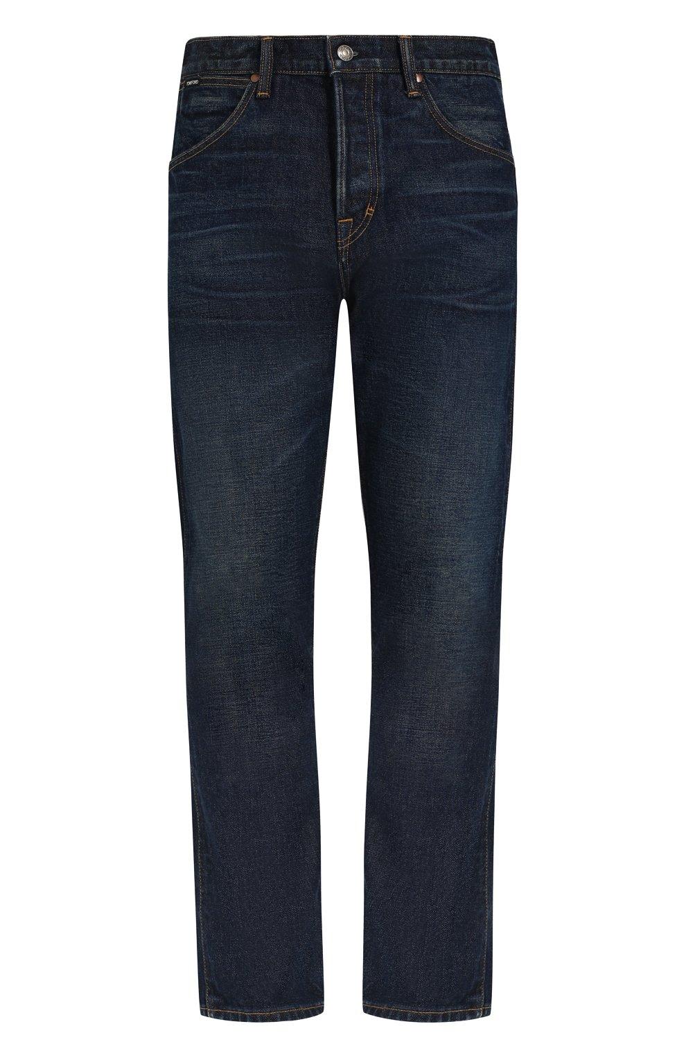 Мужские джинсы прямого кроя с потертостями TOM FORD синего цвета, арт. BPJ21/TFD007   Фото 1
