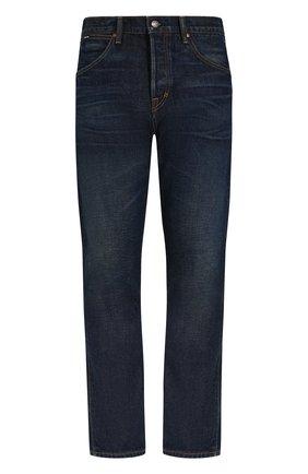 Мужские джинсы прямого кроя с потертостями TOM FORD синего цвета, арт. BPJ21/TFD007 | Фото 1