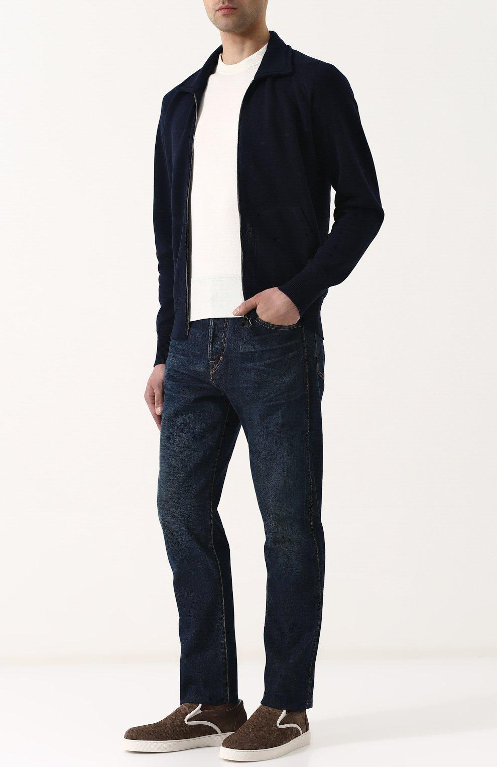 Мужские джинсы прямого кроя с потертостями TOM FORD синего цвета, арт. BPJ21/TFD007   Фото 2
