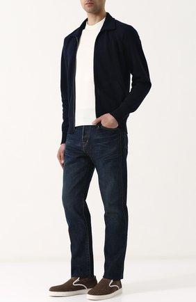 Мужские джинсы прямого кроя с потертостями TOM FORD синего цвета, арт. BPJ21/TFD007 | Фото 2