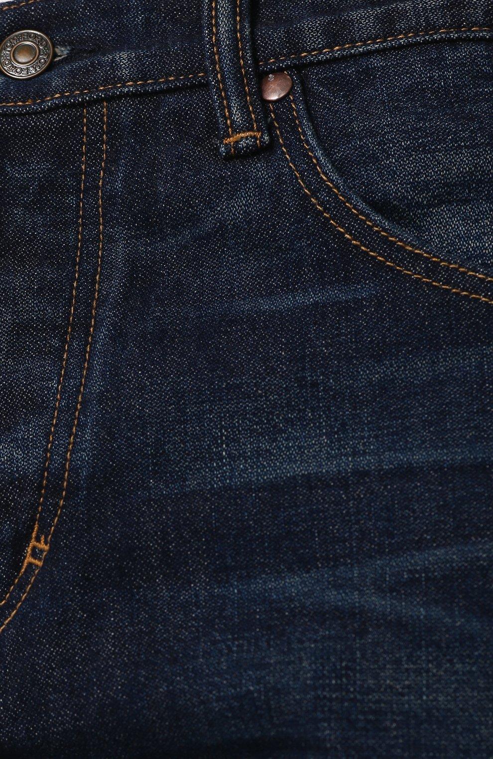 Мужские джинсы прямого кроя с потертостями TOM FORD синего цвета, арт. BPJ21/TFD007   Фото 5