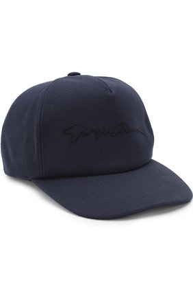 Мужской хлопковая бейсболка с логотипом бренда GIORGIO ARMANI темно-синего цвета, арт. 747324/8P510 | Фото 1