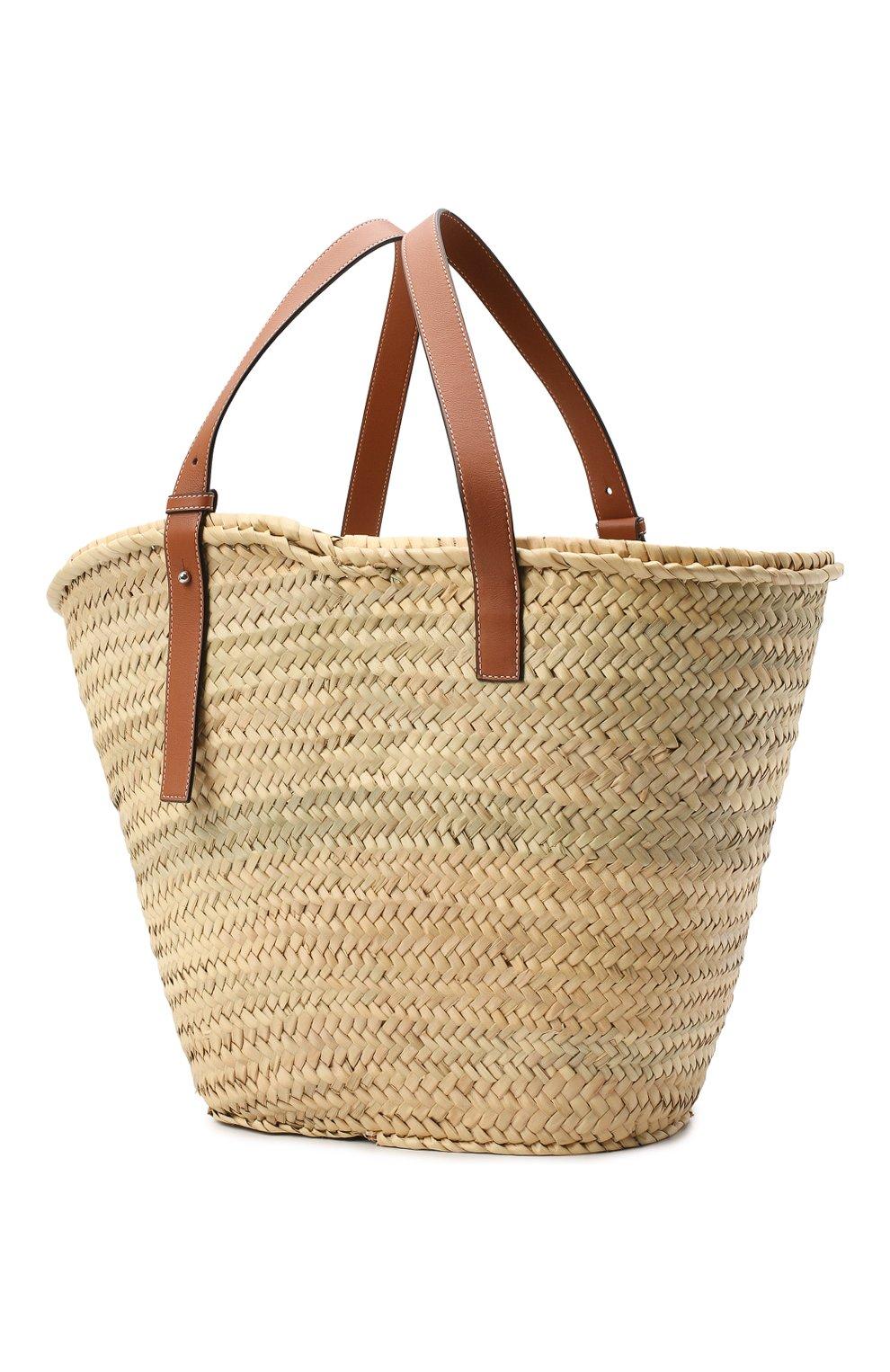 Женская сумка basket large LOEWE бежевого цвета, арт. 327.02.S81 | Фото 3
