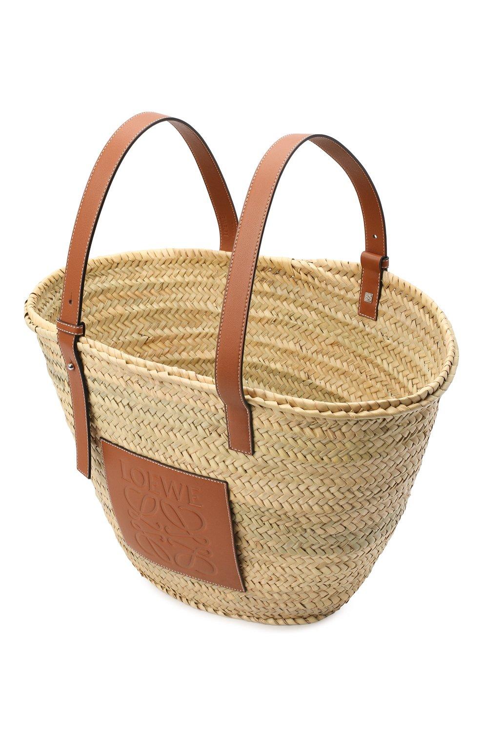 Женская сумка basket large LOEWE бежевого цвета, арт. 327.02.S81 | Фото 4