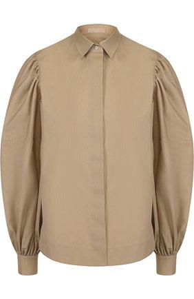 Однотонная хлопковая блуза с объемными рукавами | Фото №1