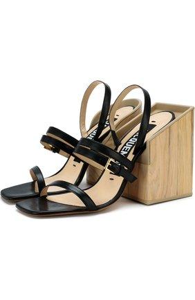 Кожаные босоножки на массивном каблуке | Фото №1