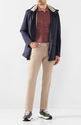 Мужская льняная рубашка ANDREA CAMPAGNA бордового цвета, арт. 57103/24806 | Фото 2