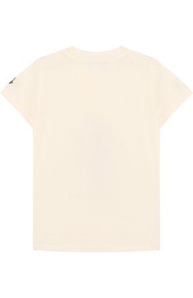 Детский хлопковая футболка с принтом MONCLER ENFANT белого цвета, арт. D1-951-80206-50-8790A | Фото 2