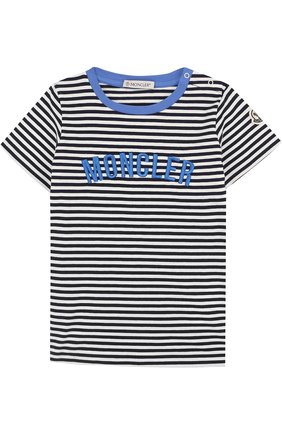 Детский хлопковая футболка в полоску с вышивкой MONCLER ENFANT синего цвета, арт. D1-951-80207-50-8391K | Фото 1
