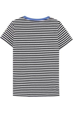 Детский хлопковая футболка в полоску с вышивкой MONCLER ENFANT синего цвета, арт. D1-951-80207-50-8391K | Фото 2