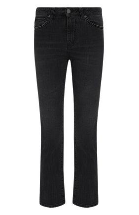 Укороченные расклешенные джинсы с потертостями Two Women In The World серые | Фото №1