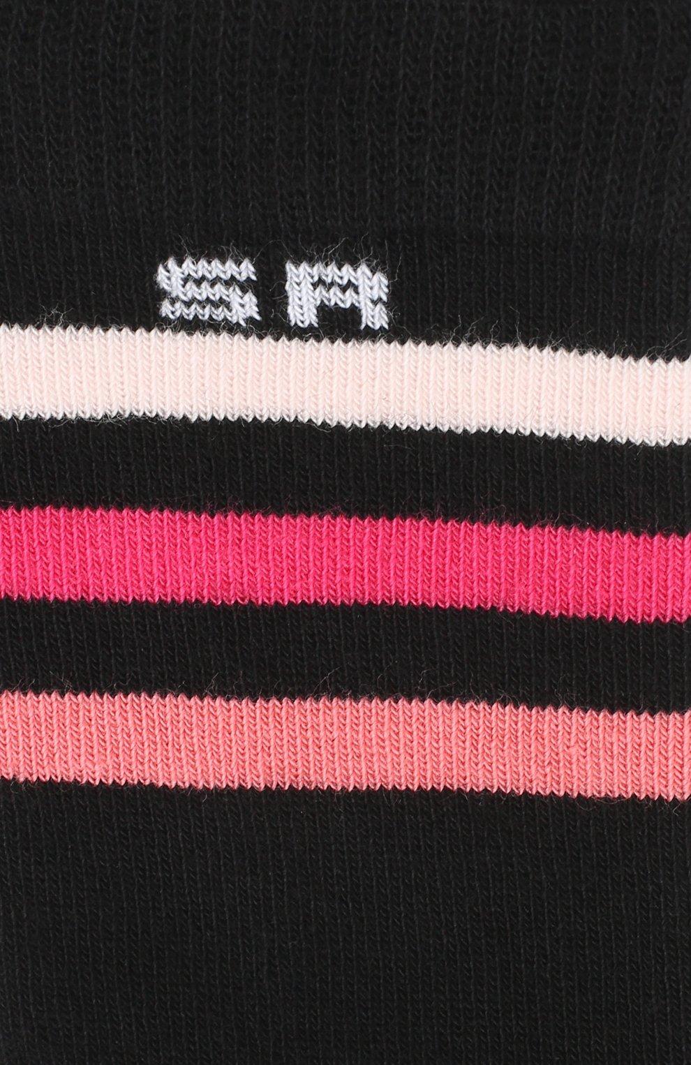 Детские гольфы с контрастной отделкой Sonia Rykiel Enfant черного цвета | Фото №2