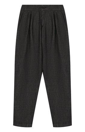 Хлопковые брюки с защипами и эластичной вставкой на поясе | Фото №1