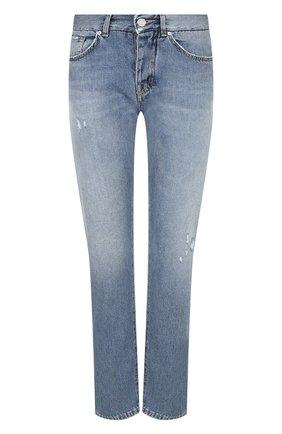 Укороченные джинсы прямого кроя с потертостями Two Women In The World голубые | Фото №1