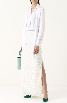 Юбка-макси с разрезами и пайетками Natasha Zinko белая   Фото №1
