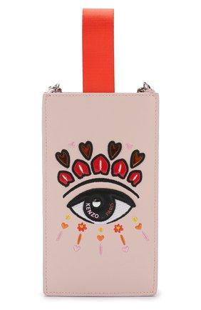 Мужской кожаный чехол для iphone 8/8 plus на цепочке KENZO светло-розового цвета, арт. 2PM608LB3 | Фото 1