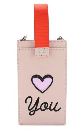Мужской кожаный чехол для iphone 8/8 plus на цепочке KENZO светло-розового цвета, арт. 2PM608LB3 | Фото 2