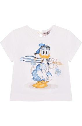 Детский футболка с принтом MONNALISA белого цвета, арт. 311609SL | Фото 1