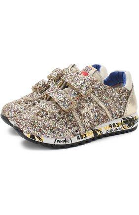 Текстильные кроссовки с глиттером и застежками велькро | Фото №1
