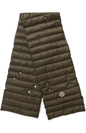 Пуховый стеганый шарф с логотипом бренда Moncler белый | Фото №1