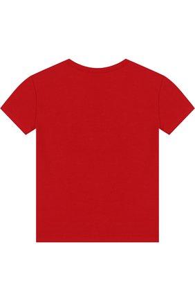 Хлопковая футболка с логотипом бренда и стразами | Фото №2