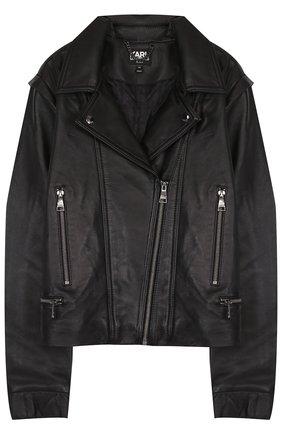 Кожаная куртка с косой молнией и отложным воротником Karl Lagerfeld Kids черного цвета | Фото №1