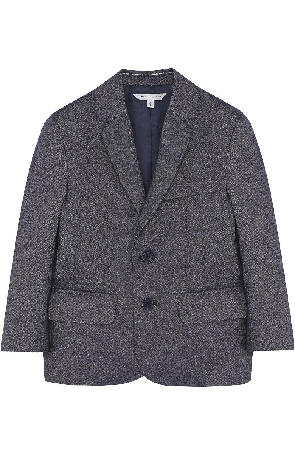 Однобортный пиджак из смеси хлопка и льна | Фото №1