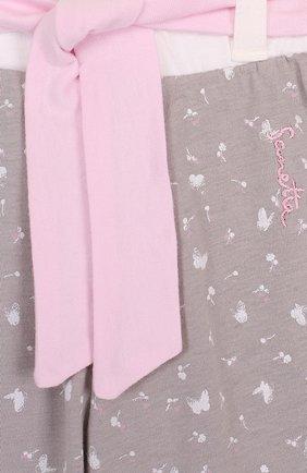 Детские хлопковые брюки с эластичными манжетами и поясом SANETTA FIFTYSEVEN серого цвета, арт. 906467 | Фото 3