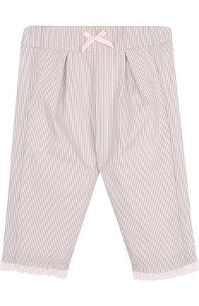 Хлопковые брюки с защипами в полоску | Фото №1