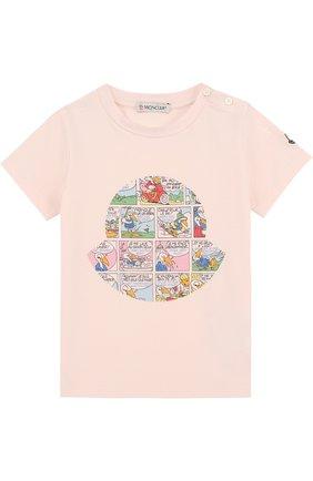 Детский хлопковая футболка с принтом MONCLER ENFANT светло-розового цвета, арт. D1-951-80187-50-8790A | Фото 1