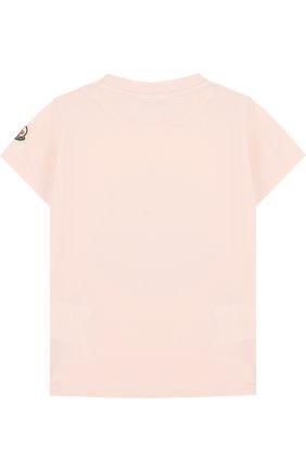 Детский хлопковая футболка с принтом MONCLER ENFANT светло-розового цвета, арт. D1-951-80187-50-8790A | Фото 2
